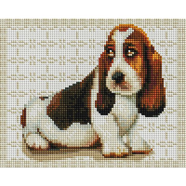 Белоснежка Мозаичная картина Бассет-хаунд, 20х25 см