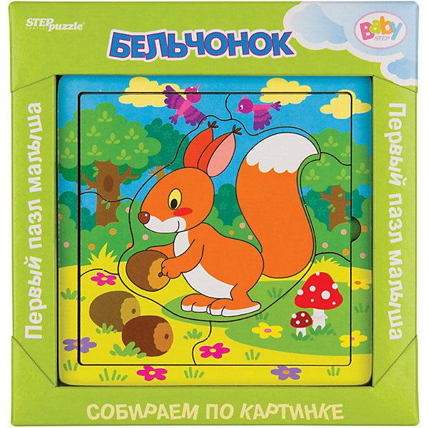 Игра из дерева STEP puzzle Baby Step, БельчонокПазлы для малышей<br>Характеристики:<br><br>? материал: дерево<br>? в наборе: 1 основа, 9 деталей<br>? размер в собранном виде: 14*14 см<br><br>Сборка пазла развивает мелкую моторику, логическое мышление и тренирует усидчивость. Красочное изображение содержит много дополнительных элементов, которые будет интересно рассматривать. В качестве подсказки на основу также нанесен рисунок. Крупные детали размером 4-5 см созданы специально для маленьких рук. Все уголки и края тщательно отшлифованы и безопасны для детей.