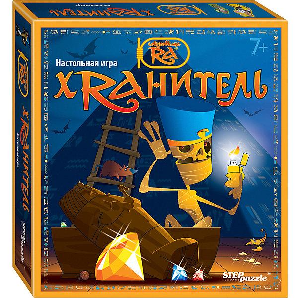 Настольная игра STEP puzzle ХранительДля всей семьи<br>Характеристики:<br><br>? материал: картон, дерево<br>? в наборе: сборный игровой планшет из 4 частей, 4 фишки охотников за сокровищами, 1 фишка Хранителя пирамиды, 1 кубик, 80 карт с баллами, 36 жетонов-артефактов, 4 жетона-алмаза, 4 таблицы результатов, правила игры<br>? количество игроков: 2-4<br>? время игры: 15-30 минут<br><br>Красочная 3D-игра, созданная по мотивам легенд Древнего Египта, поможет весело провести досуг. Охотники за сокровищами должны обхитрить защитника пирамиды и похитить как можно больше артефактов и алмазов. Победит или Хранитель, или тот, кто получит наибольшее количество баллов за собранные драгоценности. Представленная бродилка развивает устный счет, математические навыки, внимание, мелкую моторику и координацию.