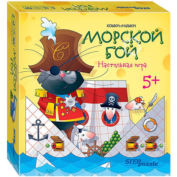 Настольная игра STEP puzzle Кошки-мышки, Морской бойДля всей семьи<br>Характеристики:<br><br>? материал: картон, дерево<br>? в наборе: 10 корабликов, 14 подставок, 2 пушки-катапульты, 12 жетонов, 2 фигурки, 4 резинки, 2 вкладыша, правила игры<br>? количество игроков: 1-2<br>? время игры: 5-15 минут<br><br>Провести весело досуг в семейном кругу и с друзьями поможет комплект из 2 игр: классический «Морской бой» и альтернативные «Кораблики», где количество попыток выстрелов ограничено. Также ребенок научится складывать лодочку оригами. Набор тренирует глазомер, мелкую моторику, координацию, логическое мышление и моделирование.