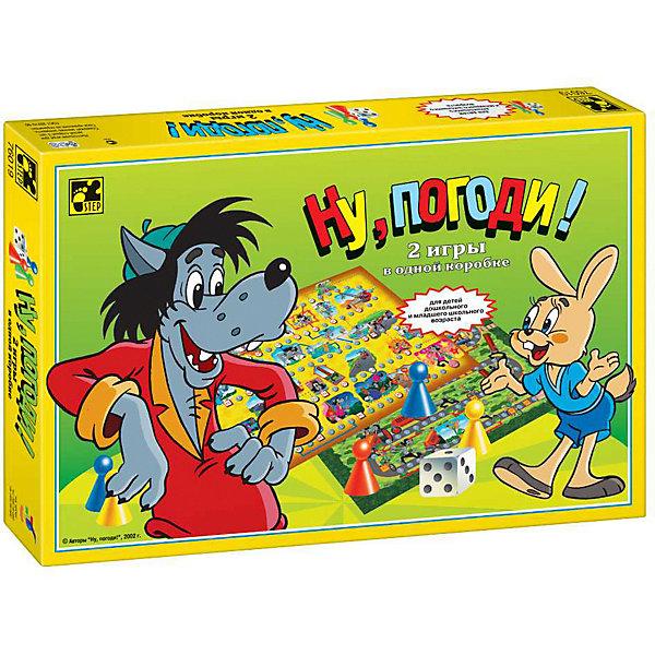 Настольная игра STEP puzzle Ну, погоди!Пазлы для малышей<br>Характеристики:<br><br>? материал: картон, пластмасса <br>? в наборе: 2 шестигранных кубика, 4 разноцветных фишки, 1 двусторонний планшет, правила игры<br>? количество игроков: 2-4<br>? время игры: 10-20 минут<br><br>Главные герои Волк и Зайцы поделятся необходимыми для первоклассника знаниями в форме 2 входящих в комплект игр-бродилок по мотивам популярного мультфильма «Ну, погоди!». Дети потренируют счет, получат представление о простых математических действиях, разовьют логическое мышление, память, внимание и коммуникативные навыки.