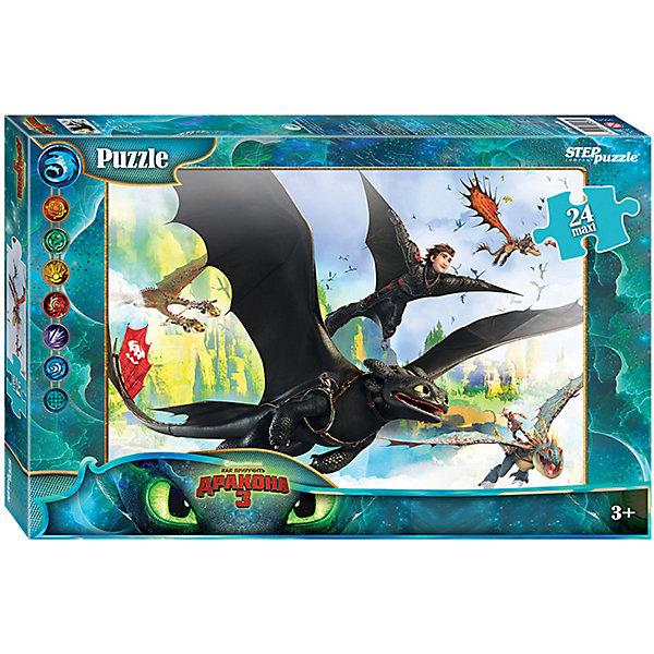 Мозаика STEP puzzle maxi 24 Как приручить дракона - 3Пазлы для малышей<br>Характеристики:<br><br>? материал: картон<br>? количество деталей: 24<br>? размер 1 детали: 8*8,5 см<br>? размер в собранном виде: 50*34,5 см<br><br>Пазл с персонажами из популярного мультфильма Как приручить дракона - 3 от мультипликационной студии DreamWorks сделан из крупных элементов специально для удобства маленьких рук. Изображение напечатано в высоком качестве, а детали разделены точно и аккуратно. Во время сборки головоломки ребенок развивает мелкую моторику, аналитическое мышление и усидчивость.