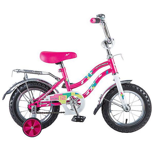Велосипед Novatrack Tetris, 12, розовыйВелосипеды<br>Характеристики:<br><br>• материал рамы: сталь<br>• количество скоростей: 1<br>• диаметр колес: 12 дюймов<br>• вилка: жесткая<br>• шатуны: однокомпонентные<br>• защита: А-тип<br>• крылья: стальные<br>• тормоз: ножной задний<br>• особенности: ограничитель поворота руля<br>• вес велосипеда: 8,3 кг<br>• страна бренда: Россия<br><br>Удобный и безопасный велосипед со съемными боковыми колесами для начинающих велосипедистов. Благодаря ограничителю переднее колесо не поворачивается под опасным углом, предотвращая падения. Предусмотрена защитная накладка на цепь, чтобы в нее не попадала одежда. Надувные колеса оснащены крыльями против брызг и грязи. Сзади есть багажник с зажимом для вещей. Велосипед оснащен нескользящими грипсами и светоотражателями. Модель отличается прочной рамой и отличной управляемостью.