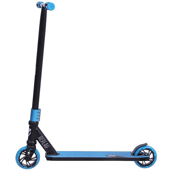 Трюковый самокат Novatrack Replay BL, черно-синийСамокаты<br>Характеристики товара:<br><br>• материал рамы: алюминий, сталь<br>• материал колёс: полиуретан, алюминий<br>• размер колёс: 120 мм<br>• плотность колёс: 84А<br>• подшипники – ABEC7<br>• максимальная нагрузка: 100 кг<br>• 4-х болтовой зажим<br>• тормоз: задний ножной<br>• противоскользящее покрытие<br>• страна бренда: Россия<br><br>Предназначен для любителей и профессиональных райдеров. Усиленный руль и надежная сила компрессии обеспечивают манёвренность и простоту управления. Передняя алюминиевая вилка и устойчивая платформа позволяют выдерживать большой вес. Устойчивые к истиранию колёса едут плавно и бесшумно, оптимальный радиус позволяет быстро набирать скорость. Резиновые накладки на ручках для удобного и надежного захвата руля. Изготовлен из качественных материалов, имеющих долгий срок службы.