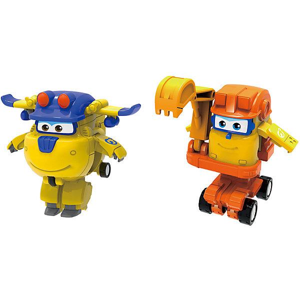 Игровой набор мини-трансформеры Gulliver Super wings Команда Строителей, Донни СкупТрансформеры-игрушки<br>Характеристики:<br><br>• материал: пластик<br>• в комплекте: 2 мини-трансформера<br>• размер: 5х6,4х5,5 см <br>• страна бренда: Россия<br><br>Набор мини-трансформеров в виде персонажей популярного мультфильма может подарить много положительных впечатлений его обладателю. Игрушки сделаны из качественных материалов, не вызывающих аллергию, и покрыты стойкими нетоксичными красками, поэтому они устойчивы к механическим повреждениям. Благодаря тому, что дизайн трансформеров детально проработан, они очень похож на одноименных персонажей. Отличительной особенностью игрушки Донни является то, что шасси трансформируются в ноги, а боковые двери превращаются в руки, а у Скупа есть складывающаяся правая рука-ковш, передвигается он за счет колесной базы, а корпус выдвигается вверх. Игра с мини-трансформерами может способствовать развитию не только воображения, но и мелкой моторики рук.