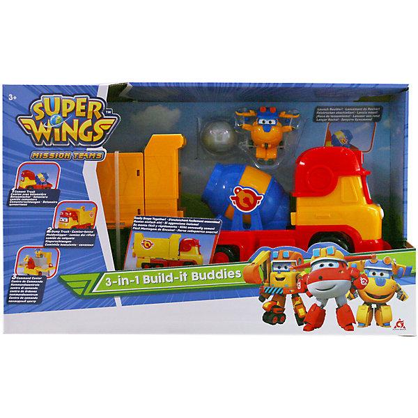Игровой набор трансформеры Gulliver Super wings Машина Рэми с мини-трансформером ДонниТрансформеры-игрушки<br>Характеристики:<br><br>• материал: пластик<br>• в комплекте: машина, мини-трансформер<br>• размер машины: 25х11,5х15,5 см <br>• страна бренда: Россия<br><br>Игровой набор по мотивам популярного мультфильма может подарить много положительных впечатлений его обладателю. Игрушки сделаны из качественных материалов, не вызывающих аллергию, и покрыты стойкими нетоксичными красками, поэтому они устойчивы к механическим повреждениям. Благодаря тому, что дизайн машины и трансформера детально проработан, они очень похожи на одноименных персонажей. Отличительной особенностью игрушки Донни является то, что шасси трансформируются в ноги, а боковые двери превращаются в руки, а Реми - это цементовоз, самосвал и командный центр в одной машине. Также у него есть когтистые лапы для валунов и миксер для бетона. Занятия с игровым набором могут способствовать развитию не только воображения, но и мелкой моторики рук.