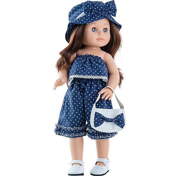 Кукла Paola Reina Эмили, 42 смКуклы<br>Характеристики:<br><br>• материал: винил, текстиль, нейлон, пластик<br>• высота куклы: 42 см<br>• в наборе: кукла, сумочка<br>• особенности: ароматизированная, глаза закрываются<br>• страна бренда: Испания<br><br>Кукла с приятным ароматом ванили. Личико создано вручную – мастера поработали над ресничками, губами и щечками. Поэтому каждая кукла по-своему уникальна и неповторима. Глазки имеют живой блеск и глубину цвета. Ручки и ножки куклы можно двигать, голову крутить. Густые волосы хорошо подходят для расчесывания. На девочке продуманный наряд из материалов высшего качества. Все швы аккуратно прошиты. Товар соответствует европейским стандартам безопасности игрушек.