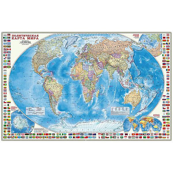 ГеоДом Карта настенная Геодом «Мир Политический с флагами»