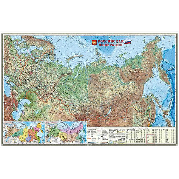 Карта настенная Геодом «Россия Физическая»Атласы и карты<br>Характеристики:<br><br>• тип товара: карта<br>• материал: картон<br>• размер: 124х80 см<br>• масштаб: 1:6,7 млн<br>• страна бренда: Россия<br><br> <br>Физическая карта содержит подробное изображение рельефа России, песков, водоемов, вулканов, болот, ледников. На нее нанесена важная информация о границах, сухопутном и морском сообщении, портах, аэропортах и других важных объектах страны. Карта из плотного материала с ламинированием включает в себя факты о климате и часовых поясах, геологических объектах.