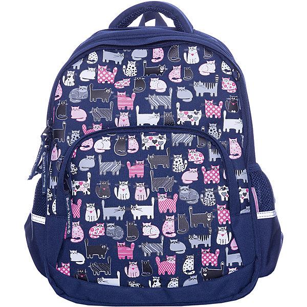 Рюкзак BrunoVisconti «Кис-кис», синийСумки и рюкзаки<br>Характеристики товара:<br><br>• материал: полиэстер<br>• размер рюкзака: 40*30*14 см<br>• объем: 22,8 л<br>• вес: 800 г<br>• особенности: эргономичная спинка, анатомические лямки, светоотражающие элементы <br><br>Рюкзак для учеников средних классов. Эргономичная спинка с мягкими подушечками обеспечивает правильное положение позвоночника и развитие осанки. Регулируемые лямки анатомической формы делают комфортным ежедневное ношение и не натирают плечи. Лямки и спинка сделаны из воздухопроницаемого материала.<br><br>У рюкзака два отделения для школьных принадлежностей, боковые карманы для бутылки с водой, передний карман на молнии для пенала или блокнотов. В переднем отделении органайзер для канцелярских принадлежностей и карман из сетки. <br><br>Светоотражающие вставки на лямках и по бокам делают безопасным перемещение ребенка в темное время суток. На дне резиновые ножки, защищающие от попадания влаги. Изделие выполнено из морозостойкого прочного водонепроницаемого материала.