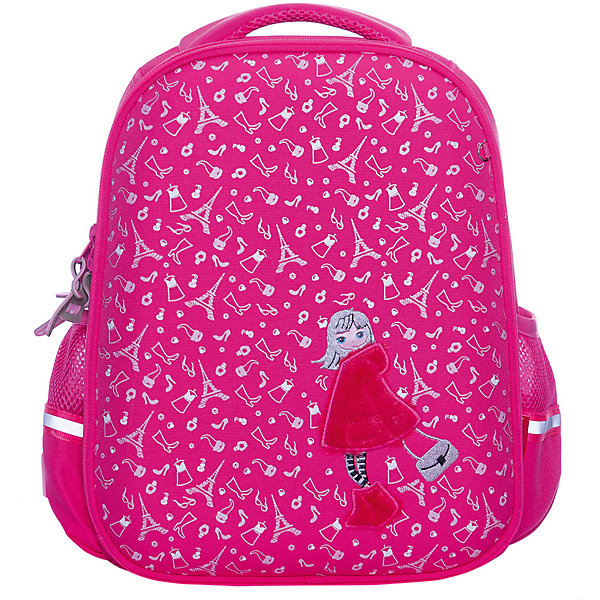 Рюкзак BrunoVisconti «Настроение», розовыйСумки и рюкзаки<br>Характеристики товара:<br><br>• материал: полиэстер<br>• размер рюкзака: 37*28*12 см<br>• объем: 22,8 л<br>• вес: 970 г<br>• особенности: эргономичная спинка, анатомические лямки, светоотражающие элементы <br><br>Рюкзак для учеников младших и средних классов. Эргономичная спинка оснащена вентилируемыми подушечками, она обеспечивает правильное положение позвоночника. Регулируемые лямки анатомической формы делают комфортным ежедневное ношение и не натирают плечи. Плечевой ремешок плотно фиксирует рюкзак на спине.<br><br>У рюкзака два отделения для школьных принадлежностей. В переднем отделении органайзер и сетчатый карман, во втором отделении — три отсека с перегородками, карман для мелочей или карточки. Сбоку сетчатые карманы для бутылочки или контейнера с перекусом. На дне резиновые ножки, защищающие от попадания влаги. Светоотражающие вставки делают безопасным перемещение ребенка в темное время суток. Изделие выполнено из морозостойкого прочного водонепроницаемого материала.