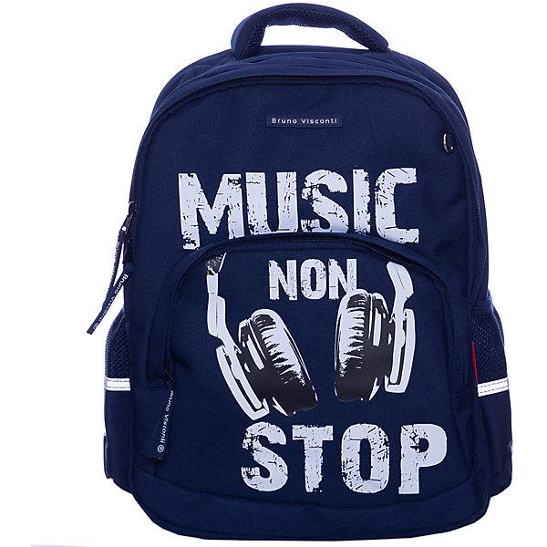 Рюкзак BrunoVisconti Music, синийСумки и рюкзаки<br>Характеристики товара:<br><br>• материал: полиэстер<br>• размер рюкзака: 40*30*14 см<br>• объем: 22,8 л<br>• вес: 800 г<br>• особенности: эргономичная спинка, анатомические лямки, светоотражающие элементы <br><br>Рюкзак для учеников средних классов. Эргономичная спинка с мягкими подушечками обеспечивает правильное положение позвоночника и развитие осанки. Регулируемые лямки анатомической формы делают комфортным ежедневное ношение и не натирают плечи. Лямки и спинка сделаны из воздухопроницаемого материала.<br><br>У рюкзака два отделения для школьных принадлежностей, боковые карманы для бутылки с водой, передний карман на молнии для пенала или блокнотов. В переднем отделении органайзер для канцелярских принадлежностей и карман из сетки. <br><br>Светоотражающие вставки на лямках и по бокам делают безопасным перемещение ребенка в темное время суток. На дне резиновые ножки, защищающие от попадания влаги. Изделие выполнено из морозостойкого прочного водонепроницаемого материала.
