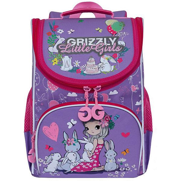 Купить Рюкзак школьный Grizzly с мешком, лаванда / жимолость, Россия, Унисекс