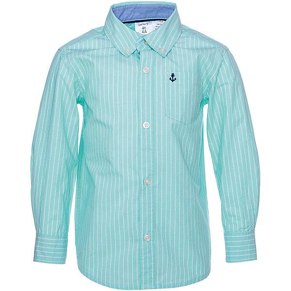 Рубашка Carter'sБлузки и рубашки<br>Характеристики товара:<br><br>• состав ткани: 100% хлопок<br>• сезон: демисезон<br>• застёжка: пуговицы<br>• страна бренда: США<br><br>Рубашка в полоску, изделие классического кроя. Удобна при носке и обеспечивает комфортную посадку. Накладной карман на груди с небольшим вышитым принтом. Отложной воротник. Материал натуральный и дышащий.