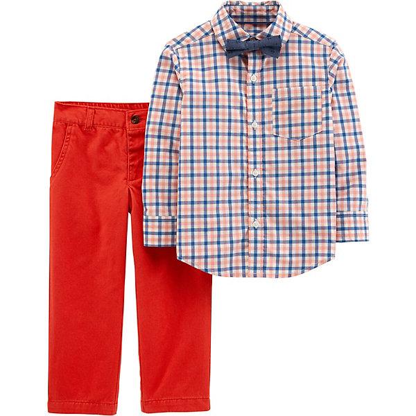Комплект Carter's: рубашка и брюкиКомплекты<br>Характеристики товара:<br><br>• состав ткани: 100% хлопок<br>• сезон: демисезон<br>• застёжка: пуговицы<br>• страна бренда: США<br><br>Клетчатая рубашка с длинными рукавами. Дополнена контрастным галстуком-бабочкой и накладным нагрудным карманом. Брюки имеют прямой классический крой. Есть шлёвки, позволяющие надеть ремень для более комфортной посадки. Модели из натуральной ткани обладают дышащими свойствами.