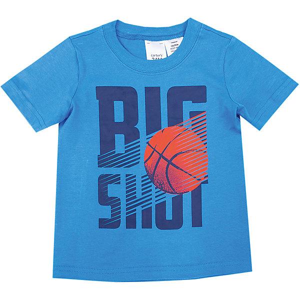 Футболка с коротким рукавом carters для мальчикаФутболки, топы<br>Характеристики товара:<br><br>• состав ткани: 100% хлопок<br>• сезон: лето<br>• страна бренда: США<br><br>Удобная футболка выполнена в свободном крое с комфортной посадкой. Украшена баскетбольным принтом. Натуральная ткань, из которой изготовлена модель, обеспечит хороший воздухообмен.