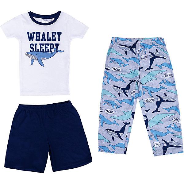 Пижама carters для мальчикаПижамы и сорочки<br>Характеристики товара:<br><br>• состав ткани: 100% полиэстер<br>• сезон: круглый год<br>• в комплекте: футболка, брюки, шорты<br>• страна бренда: США<br><br>Футболка с короткими рукавами имеет свободный крой. Горловина круглая. Брюки и шорты имеют прямой удобный силуэт. Резинки обеспечат комфортную посадку по талии. Комплект украшен разнообразным узором.