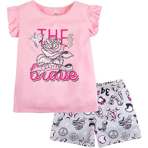Пижама Bossa Nova для девочкиПижамы и сорочки<br>Характеристики товара:<br><br>• состав ткани: 100% хлопок, супрем<br>• сезон: круглый год<br>• в комплекте: футболка, шорты<br>• страна бренда: Россия<br><br>Пижама обеспечивает комфортный сон и удобство. Футболка с короткими рукавами-крылышками, прямой крой, принт спереди. Шорты на резинке, материал с рисунком. Ткань натуральная, благодаря чему изделие хорошо дышит.