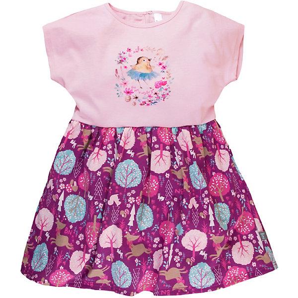 Платье Bossa Nova для девочкиПлатья и сарафаны<br>Характеристики товара:<br><br>• состав ткани: 100% хлопок, супрем<br>• сезон: лето<br>• застёжка: кнопка<br>• страна бренда: Россия<br><br>Платье легко надевается при помощи удобной кнопке на спинке, есть небольшой вырез. Модель с круглой горловиной и короткими рукавами. Юбка отрезная, контрастный цвет с рисунком. Ткань натуральная, благодаря чему изделие хорошо дышит.
