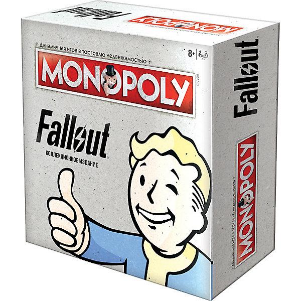 Настольная игра Hobby World Монополия: FalloutКарточные игры<br>Характеристики:<br><br>• количество игроков: 2-6<br>• время игры: от 60 минут<br>• в наборе: 6 фигурок, 28 карточек собственника, 16 карточек Система S.P.E.C.I.A.L, 16 карточек Руководство по выживанию для жителей убежища, 2 кубика, 32 лачуги, 12 убежищ, 1 пачка денег Fallout, правила<br>• страна бренда: Россия<br><br>Коллекционное издание «Монополии» представляет мир постапокалиптической Пустоши. Игрокам предстоит покупать сохранившиеся объекты, например, могильник или военную базу. На них можно строить лачуги и убежища, собирая с соперников ренту за проживание. Экономическая игра строится по правилам классической версии, но с некоторыми изменениями. Набор оформлен в стиле вселенной Fallout.