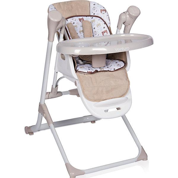 Стульчик для кормления 2 в 1 Lorelli Ventura, бежевыйСтульчики для кормления<br>Характеристики:<br><br>• тип товара: стульчик для кормления<br>• материал: пластик, металл, текстиль<br>• вес ребенка: до 15 кг<br>• таймер: 8, 15, 30 минут<br>• регулировка спинки 4 положения<br>• 5-точечный ремень безопасности<br>• наличие батареек: не входят в комплект<br>• адаптер с USB: входит в комплект<br>• страна бренда: Болгария<br><br><br>Стульчик для кормления выполняет роль качелей. Кресло может фиксироваться в двух положениях, а высота регулируется в 6 положениях. Столик также меняет положение.  Есть музыкальная панель с 12 мелодиями, громкость регулируется. Можно установить разную скорость качания.
