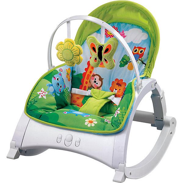 Стульчик-качалка Lorelli Enjoy, зелёныйДетские качели для дома<br>Характеристики:<br><br>• тип товара: стульчик-качалка<br>• материал: пластик, металл, текстиль<br>• вес ребенка: до 18 кг<br>• страна бренда: Болгария<br><br><br>Стульчик-качалка имеет ремни безопасности для надежной фиксации ребенка. Есть вибрация для укачивания и музыкальные звуки. Дуга с игрушками снимается. Во время качания стульчик можно заблокировать. Яркий дизайн.