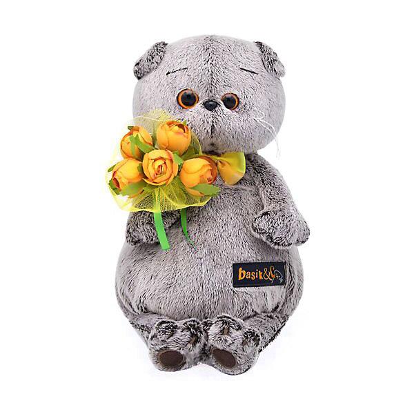 Budi Basa Мягкая игрушка Кот Басик с букетом оранжевых пионов, 22 см