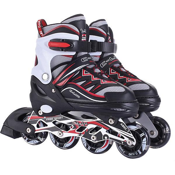 Роликовые коньки 1Toy, черно-красныеРолики<br>Характеристики товара:<br><br>• материал: ПВХ, алюминий, пластик, текстиль<br>• раздвижная модель: 4 полных размера<br>• максимальная нагрузка: 50 кг<br>• подшипники: ABEC-7<br>• колеса: PU со светом<br>• размер колес: 7 х 2,2 см<br>• страна бренда: Россия<br><br>Детские ролики подходят на вырост — можно регулировать размер ноги с 31 по 34 для размера S и с 35 по 38 для M с помощью раздвижного механизма. Роликовые коньки надеваются на носок и фиксируются по ширине стопы с помощью клипс и липучек. Рама из алюминия прочная, но при этом лёгкая, что гарантирует комфортное движение при катании. Ролики выполнены в спортивном стиле и ярких контрастных цветах. Передние колёса светятся во время езды.