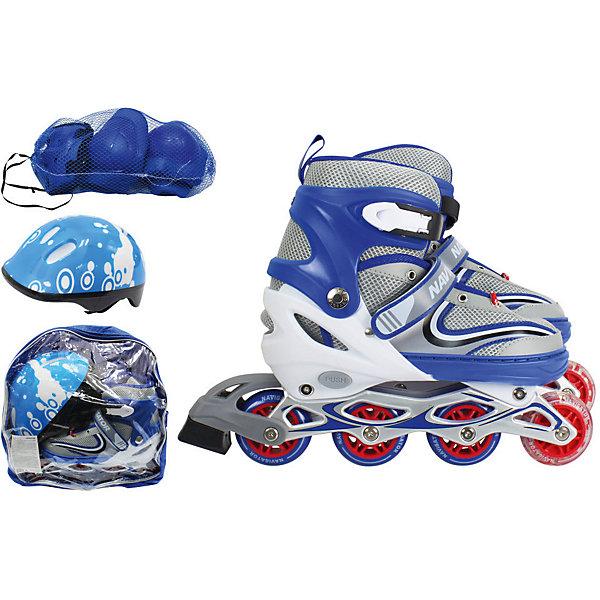 1Toy Роликовые коньки с защитой и шлемом 1Toy, синие