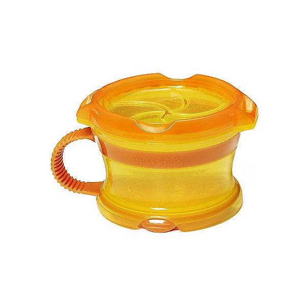 Контейнер Munchkin Поймай печенье DeluxeДетская посуда<br>Характеристики:<br><br>• объём: 255 гр<br>• материал: пластик<br>• не содержит бисфенол-А (BPA free)<br>• на дне контейнера место для имени ребенка<br>• крышка с лепестками не позволит содержимому рассыпаться<br>• можно мыть в посудомоечной машине и ставить в морозилку<br><br>Яркий пластиковый контейнер подойдет для домашних посиделок и поездок. Малыш без труда сможет достать снеки, печенье или кусочки фруктов. Для удобства крышка контейнера оснащена ручкой.