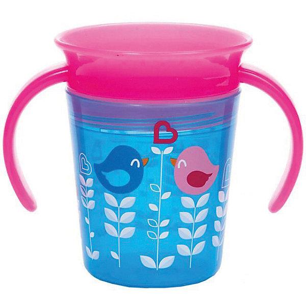 Поильник-непроливайка Munchkin Deco 360° с ручками 177 мл.Поильники<br>Характеристики:<br><br>• объём: 266 мл<br>• съемный клапан для простоты питья<br>• материал: пластик<br>• удобные ручки для детских рук<br>• не содержит бисфенол-А (BPA free)<br>• можно мыть в посудомоечной машине<br><br>Тренировочный поильник для перехода от детской бутылочки к взрослой чашке. Умная конструкция предотвращает проливания напитков. Прорезиненный материал бережет десна и зубы малыша. Система 360 дает возможность пить по всей окружности - жидкость равномерно распределяется под крышкой. Клапан закрывается после питья.