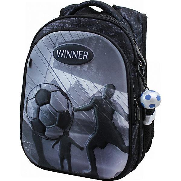Рюкзак Winner 8073 с брелоком, черныйРюкзаки<br>Характеристика:<br><br>• материал: полиэстер<br>• в комплекте: рюкзак, бирка, брелок в виде мячика<br>• 2 отделения на молнии, 1 карман-органайзер на молнии, 2 боковых кармана<br>• страна бренда: Китай<br><br>Детский рюкзак обладает хорошей вместительностью для школьных принадлежностей и стильным дизайном. Изделие имеет вентилируемые спинку и лямки. В одном из больших отделений ранца есть два разделителя и резинка для удобства крепления содержимого. Другое отделение не содержит наполнения. Спереди находится карман, который сделан в виде органайзера и может служить для хранения принадлежностей для письма. Рюкзак прошит дополнительными строчками для укрепления. Благодаря ручке из ткани данную модель удобно нести в руках, а с помощью светоотражающих элементов, расположенных со всех сторон изделия, обладателя данного аксессуара будет видно в вечернее время суток.