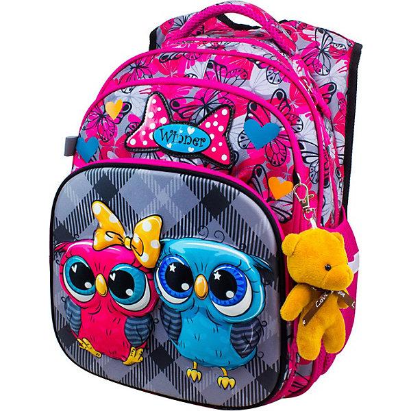 Рюкзак Winner 8050 с брелоком, розовыйРанцы<br>Характеристика:<br><br>• материал: полиэстер<br>• в комплекте: рюкзак, бирка, брелок в виде мишки<br>• 2 отделения на молнии, 1 карман-органайзер на молнии, 2 боковых кармана<br>• страна бренда: Китай<br><br>Детский рюкзак обладает хорошей вместительностью для школьных принадлежностей и стильным дизайном. Изделие имеет вентилируемые спинку и лямки. В одном из больших отделений ранца есть два разделителя и резинка для удобства крепления содержимого. Другое отделение не содержит наполнения. Спереди находится карман, который сделан в виде органайзера и может служить для хранения принадлежностей для письма. Рюкзак прошит дополнительными строчками для укрепления. Благодаря ручке из ткани данную модель удобно нести в руках, а с помощью светоотражающих элементов, расположенных со всех сторон изделия, обладателя данного аксессуара будет видно в вечернее время суток.