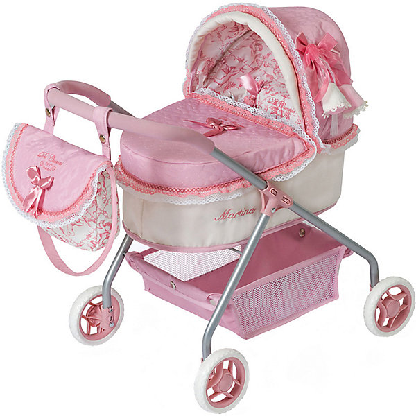 Купить Коляска для кукол DeCuevas Мартин с сумкой, 56 см, Испания, розовый/белый, Женский