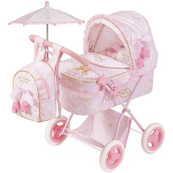 Купить Коляска для кукол DeCuevas Мария с рюкзаком и зонтиком, 60 см, Испания, розовый/белый, Женский