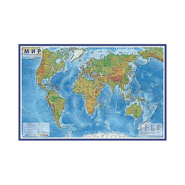 "Globen Карта ""Мир Физический"" в тубусе"