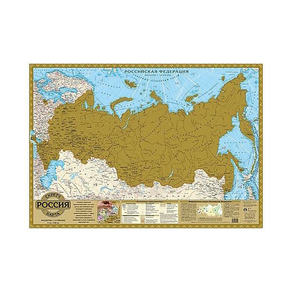 Скретч карта РоссияАтласы и карты<br>Характеристики:<br><br>? материал: картон с фольгированным слоем<br>? издательство: Геоцентр<br>? масштаб: 1: 14 500 000<br>? размер в развернутом виде: 49*52 см<br><br>Карта предлагает необычный метод для изучения географии: стирая с помощью монетки верхний слой и открывая города. Таким игровым способом можно отмечать осуществленные или будущие путешествия.