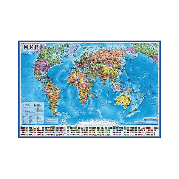 Globen Карта Мир Политический в тубусе