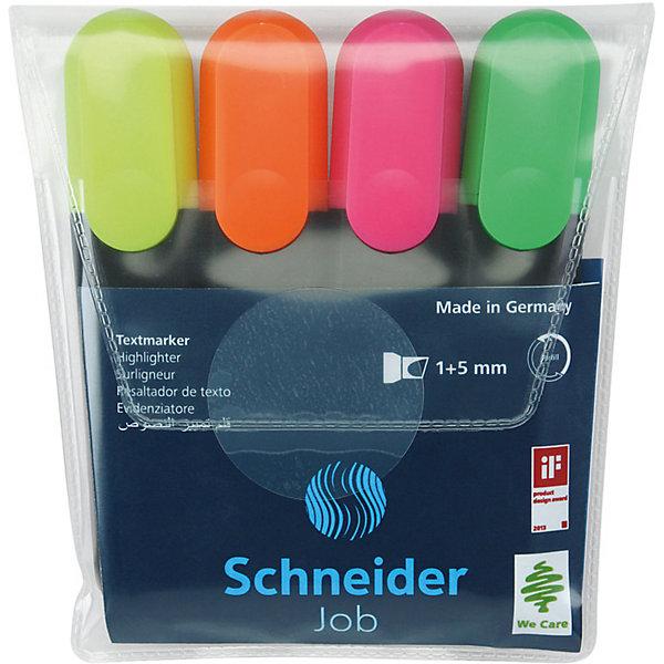 Купить Набор текстовыделителей Schneider Novus Job, 4 цвета, прозрачный чехол, -, Германия, Унисекс