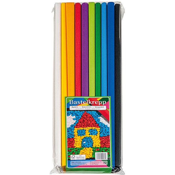 Набор крепированной бумаги Werola, 10 штук, 10 цветов, 50х200 смТовары для скрапбукинга<br>Характеристики:<br><br>• материал: бумага 32 г/кв.м<br>• в наборе: 10 рулонов<br>• размер рулона: 50х200 см<br>• растяжение: 55%<br>• особенности: однотонная<br>• страна бренда: Германия<br><br>Крепированная бумага подходит для декорирования, упаковки подарков, создания поделок и элементов детских костюмов. Мелкоскладчатый материал хорошо тянется, имеет рельефную поверхность. В наборе 10 разных цветов.