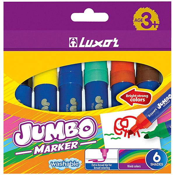 Luxor Фломастеры Luxor Jumbo, 6 цветов, утолщенные, смываемые фломастеры giotto джиотто turbo maxi утолщенные 6 цветов