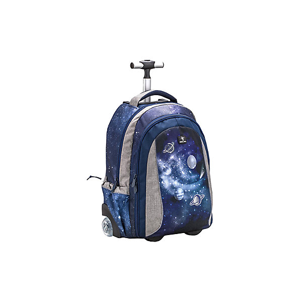 Рюкзак на колесах Belmil Easy go Universum, синийРюкзаки<br>Характеристика:<br><br>• 2 отделения на замке, 2 боковых кармана<br>• телескопическая ручка<br>• бесшумные колеса<br>• страна бренда: Сербия<br><br>Яркий рюкзак-трансформер с телескопической ручкой может превращаться в походную сумку на колесах. Изделие представлено вентилируемой спинкой и мягкими регулируемыми лямками — для наилучшего распределения нагрузки. Благодаря устойчивым ножкам его можно ставить на землю, а прочное дно защитит содержимое от промокания. Большие отделения могут вместить не только школьные принадлежности, но и вещи для путешествий, а также ноутбук. Боковые карманы сделаны с утяжкой для надежности. Для переноски ранца предусмотрена специальная ручка. При необходимости колеса можно спрятать в специальные отделения. На задней части рюкзака в своеобразном кармане на молнии находятся лямки. Для того, чтобы обладатель данного аксессуара оставался заметным в вечернее время суток или в дождливую погоду, ранец оснащен специальными светоотражающими элементами.