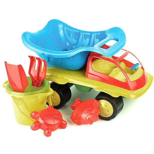 Игровой набор для песочницы Zebratoys Тюльпан, 7 штИграем в песочнице<br>Характеристика:<br> <br>• материал: пластик<br>• в комплекте: автомобиль, лопатка, грабельки, 2 формочки, ведерко, ситечко<br>• размер автомобиля: 38х26,5х22,5 см<br>• страна бренда: Россия<br><br>Игровой набор может подарить много положительных эмоций его обладателю. Благодаря прочному материалу, из которого сделана машинка, в ней можно перевозить не только песок, но и игрушки, а также различные небольшие предметы. Устойчивость и проходимость автомобиля обеспечиваются четырьмя колесами. Кузов транспортного средства подвижен, поэтому есть возможность загружать и разгружать грузовик. С помощью аксессуаров, идущих в комплекте, ребенок может не только создавать различные фигурки из песка, но также выполнять простейшие работы в саду. Занятия с игрушечным инвентарем могут содействовать развитию моторики, мышления и фантазии. Игровой набор сделан из безопасного для здоровья материала, который даже при разломе не образует острых углов. Наполнение набора в ассортименте.