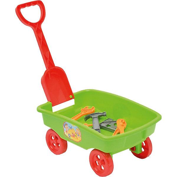 Игровой набор Zebratoys Тележка с инструментами, зеленыйИграем в песочнице<br>Характеристика:<br> <br>• материал: пластик<br>• в комплекте: тележка, 5 инструментов<br>• страна бренда: Россия<br><br>Игровой набор может подарить много положительных эмоций его обладателю. Благодаря прочному материалу, из которого сделана тележка, в ней можно перевозить не только песок, но и игрушки, а также различные небольшие предметы. Устойчивость тележки обеспечивается четырьмя колесами. Изделие обладает складной ручкой, которая представляет собой небольшую съемную лопату, поэтому оно легко транспортируется и не занимает много места. С помощью аксессуаров, идущих в комплекте, ребенок может придумывать разные игры. Занятия с игрушечным инвентарем могут содействовать развитию моторики, мышления и фантазии. Игровой набор сделан из безопасного для здоровья материала, который даже при разломе не образует острых углов. Наполнение к тележке в ассортименте.