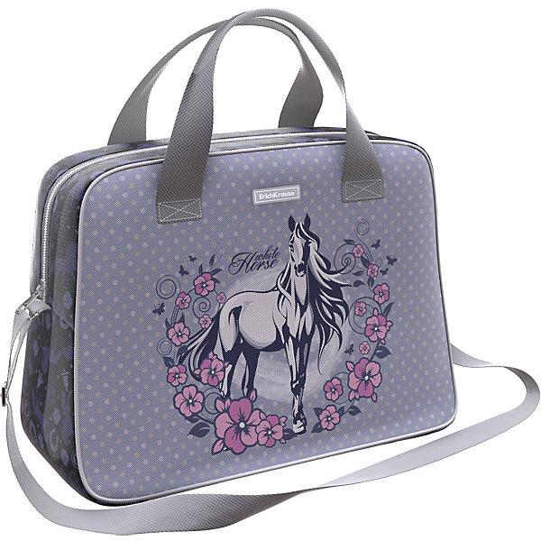 Сумка для спорта и путешествий Erich Krause White HorseСпортивные сумки<br>Характеристики:<br><br>• материал: 100% полиэстер, пластик<br>• застёжка: молния<br>• объём: 21 литр<br>• светоотражающие элементы<br>• страна бренда: Германия<br><br>Сумка предназначена для поездок или спорта. Материал изделия износо- и морозостойкий, обладает водоотталкивающими свойствами. Благодаря жёсткому канту по периметру и съёмной вставке внутри модель хорошо держит форму. Ручки для переноски и плечевой ремень, который можно регулировать, дополнительно прошиты в местах крепления. Мягкий ход молнии, два бегунка.