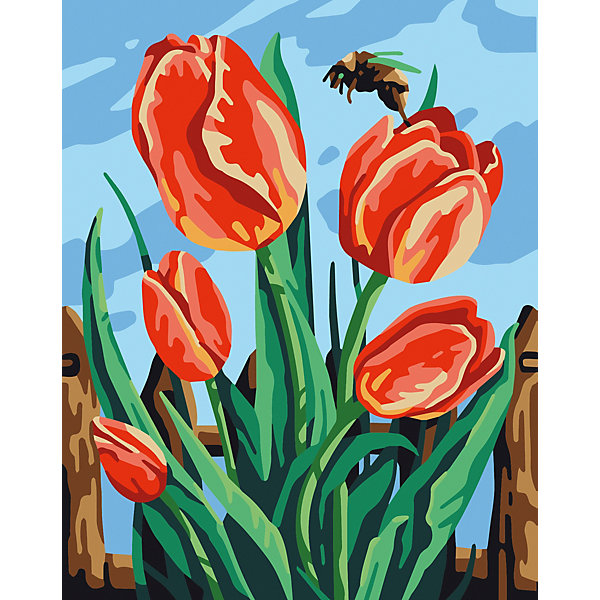 Купить Набор для раскрашивания по номерам Артвентура «Майские тюльпаны», Россия, Унисекс
