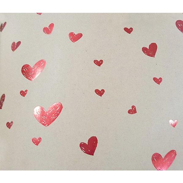 Феникс-Презент Упаковочная бумага крафт Красные сердца маленькие