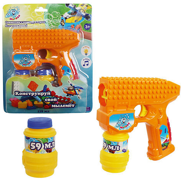 Пистолет с мыльными пузырями 1Toy, свет и звук, 2х59 мл, оранжевый 1Toy 11441824