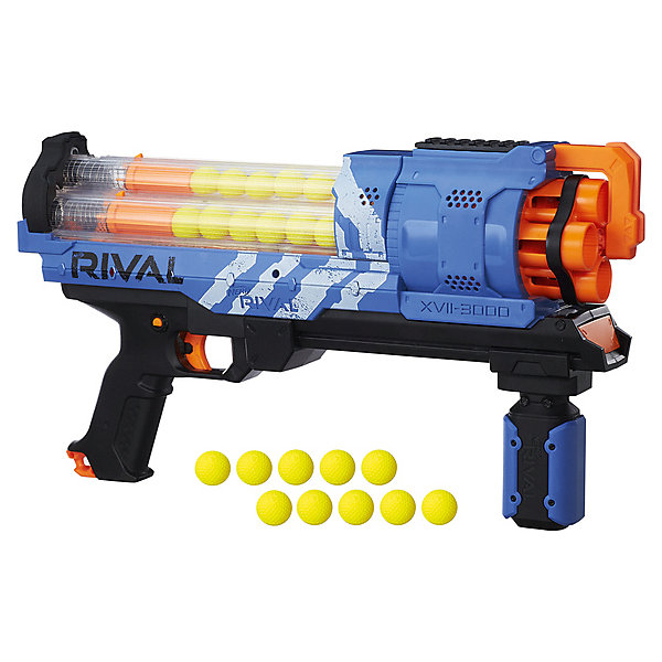 Нёрф Райвал Артемис (Бластер), Hasbro, Nerf RivalИгрушечные пистолеты и бластеры<br>Характеристики:<br><br>• тип игрушки: оружие;<br>• возраст: от 14 лет;<br>• вес: 1,6 кг; <br>• материал: пластик, полимер;<br>• комплектация: 1 бластер, 30 пулей;<br>• упаковка: картонная коробка;<br>• размер: 10x52х25 см;<br>• бренд: Hasbro.<br><br>Нёрф Райвал Артемис (Бластер), Hasbro, Nerf Rival оразит юного воина оригинальным дизайном, ярким цветом и позволит ему увлеченно играть в войну. Ребенок сможет представить себя космическим воином, ведь форма детского оружия напоминает бластеры из фантастических боевиков. <br><br>Игрушечный бластер заряжается эластичными патронами. В обойму неповторимого оружия одновременно помещается 30 пулек, поэтому мальчику не придется отвлекаться на его перезарядку во время игры. Красивый и функциональный бластер Нерф Ривал Артемис подарит ребенку массу положительных эмоций и сделает его победителем во всех перестрелках.
