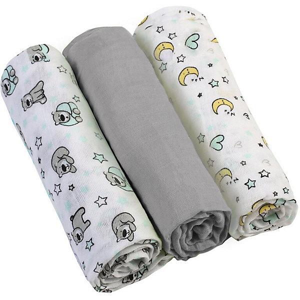 Купить Набор пеленок BabyOno, 3 штуки, Набор пеленок BabyOno серый, Китай, Унисекс